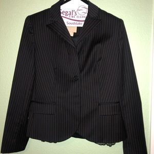 Pink pinstripe pencil skirt and jacket